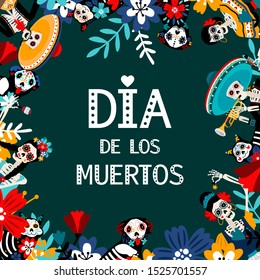 Day of Dead, Dia de los muertos, flat vector social media banner template. Skeletons celebrating Mexican traditional holiday poster layout with spanish text. Party invitation cartoon design