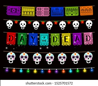 Day of Dead, Dia de los muertos, party decorations vector set. Traditional garlands isolated pack. Glowing color lamps, sugar skull hanging on string design element. Mexican holiday clipart