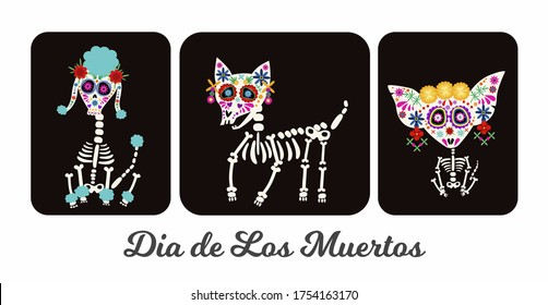 Day of the Dead, Dia de los muertos, animal dog skulls and skeleton decorated with colorful Mexican elements and flowers. Fiesta, Halloween, holiday poster, party. Vector illustration