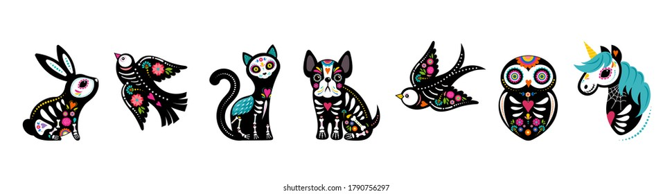 Day of the dead, Dia de los muertos, animals skeletons collection, dog, bird, unicorn, bunny and cat skulls and skeleton decorated with colorful Mexican elements and flowers. Fiesta, Halloween