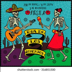 Day of the Dead (Dia de los Muertos). The skeleton dance.