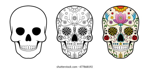 Day of the Dead (Dia de los Muertos) Sugar Skull set. Includes empty form and drawing to colour. Isolated vector design.