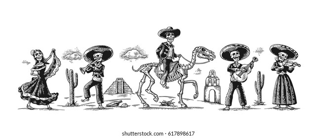 Day of the Dead, Dia de los Muertos. The skeleton in the Mexican national costumes dance, sing, play the guitar, violin, trumpet, rider on horse. Griffin, cactus, cloud. Vector vintage engraving