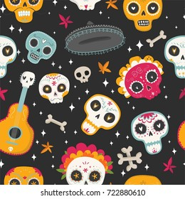 Day of the Dead. Dia de los muertos. Seamless vector pattern with sugar skulls and flowers on dark background