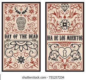 Day of the dead. Dia de los muertos. Set of banner templates. Design elements for poster, flyer, banner. Vector illustration