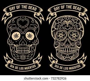 Day of the dead. Dia de los muertos. Set of the sugar skulls. Design elements for poster, greeting card, banner. Vector illustration