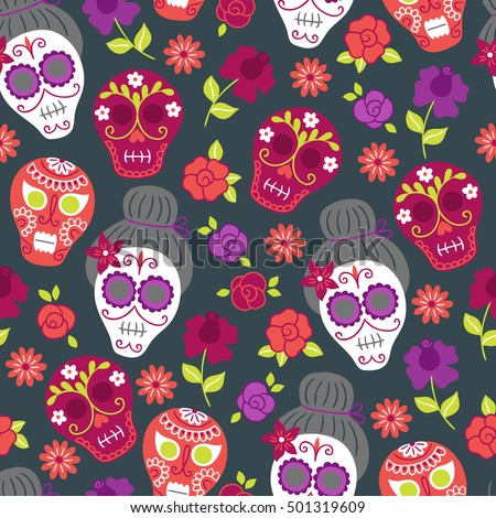 Day of the dead (Dia de los muertos) pattern with flowers and sculls on dark background. Perfect for wallpaper, gift paper, holiday decorations, ...