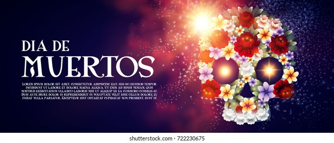Day of the Dead Flyer Template with Traditional Mexican Scull with Flowers and Light Effects. Dia de los Muertos.Vector illustration