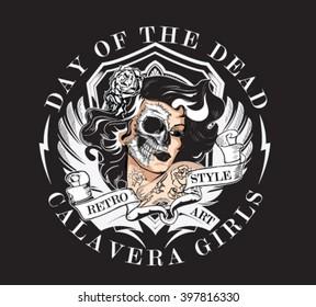 Day of dead girl black and white illustration.skull face vector illustration