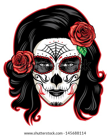 day of the dead girl with sugar skull makeup