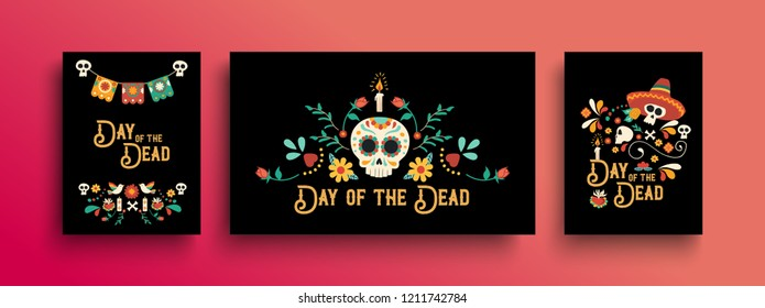 Day of the dead greeting card template set for traditional mexican culture holiday celebration with sugar skulls and mexico decoration.