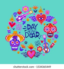 Day of the dead greeting card, traditional mexico culture icons in colorful watercolor art style. Includes sugar skull, mexican hat, mariachi guitar and flowers.