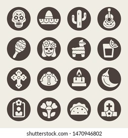 Day of the Dead holiday celebration vector icon set