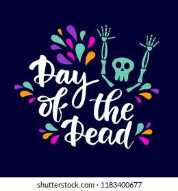 Day of the Dead lettering phrase on dark background. Vector banner poster card invitation design