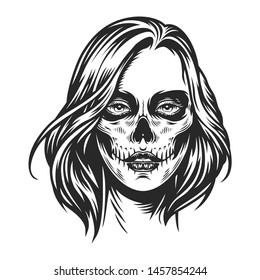 Day of Dead makeup girl face in vintage monochrome style isolated vector illustration