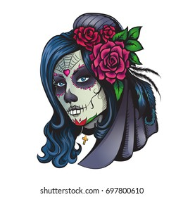 Day of dead makeup girl with flowers in hair illustration