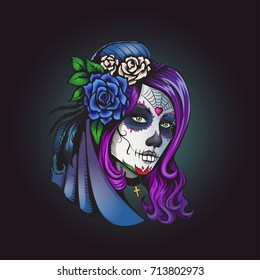 Day of dead make-up girl with flowers in hair illustration