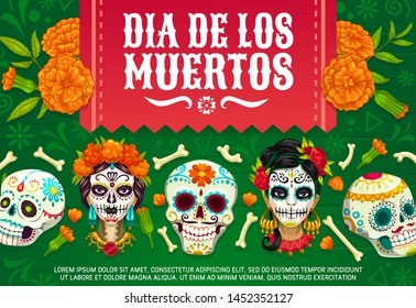 Day of Dead Mexican Dia de los Muertos party poster of woman with calavera skull pattern. Vector Dia de Los Muertos, Mexico party fiesta marigold flowers, skeleton bones and floral flags