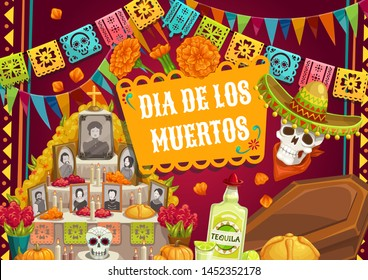 Day of Dead, Mexican Dia de los Muertos holiday, catrina skull in sombrero hat and pecked paper flags. Vector Day of Dead traditional altar photos, coffin and tequila, candles and marigold flowers