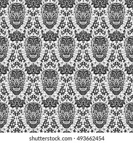 Day of the Dead and Mexican Dia Los Muertos background. Black lace sugar skull seamless pattern