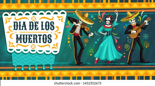 Day of the Dead Mexican fiesta party with dancing skeletons. Dia de los Muertos religion holiday vector skulls and Catrina playing guitar and dancing flamenco in mariachi sombrero, suits and dress