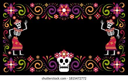 Day of dead mexican halloween ornamental frame with skeletons Catrina Calavera. Dia de Muertos poster with sugar skull. Vector illustartion.