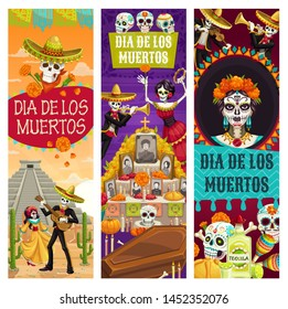 Day of Dead Mexican holiday banners, Dia de los Muertos fiesta celebration. Vector dead woman dance with skeleton playing guitar, calavera skull on ritual altar with photos, candles and coffin