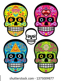 Day of the Dead, mexican sugar skull, grunge vintage design