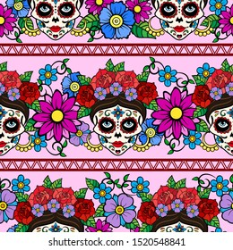Day of the dead, mexico pattern with Catrina La Calavera Sugar skull. Festive seamless background in pink tones.