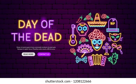 Day of the Dead Neon Banner Design. Vector Illustration of Mexican Holiday Promotion.