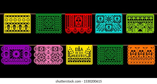 Day of dead paper decoration. Mexican holiday dia de los muetros cutted papers art isolated on black background. Vector garlands illustration