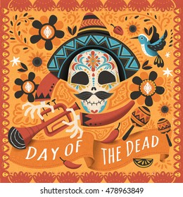 Day of the dead poster, Mexican sugar skull with instrument