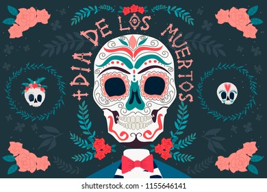 """Day of the dead poster with skeleton, Mexican traditional holiday. Mexican wording translation: """"Day of the dead"""". Editable vector illustration"""