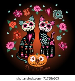 Day of the dead poster, two cats in love, pumpkins and flowers in Mexican style. Dea de los muertos card.
