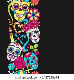 Day of the Dead seamless pattern. Sugar skulls with floral ornament. Mexican talavera ceramic tile traditional decorative objects.