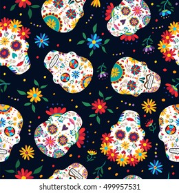 Day of the dead seamless pattern with traditional mexican sugar skull decoration, flowers and colorful art. EPS10 vector.