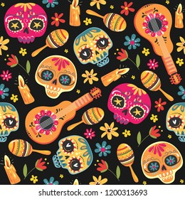Day of the Dead seamless vector pattern with sugar skulls and flowers. Dia de los Muertos (tramslate - Day of the Dead) pattern background. Vector EPS10