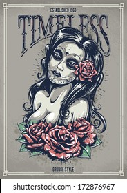 Day of dead sexy girl with roses. Grunge poster. Vintage print. Vector illustration.