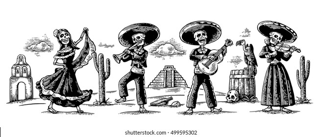 Day of the Dead. The skeleton in the Mexican national costumes dance, sing and play the guitar, violin, trumpet. Griffin on barrel with skull, cactus.Vector vintage engraving