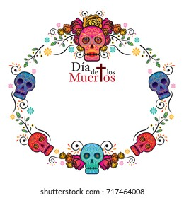 Day of the Dead Skull Frame, Colorful and Gradient, Men and Women