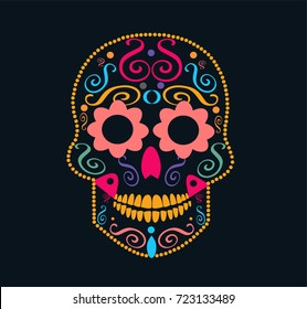 Day of the dead skull, Halloween icon with flower eyes