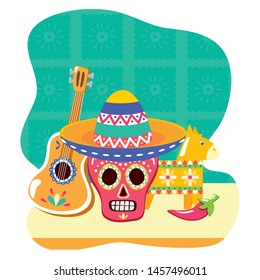 day of the dead skull mask with guitar and pinata vector illustration design