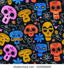 Day of the dead skull seamless pattern, funny watercolor skeleton smiley faces and colorful mexican culture icon background.