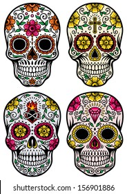 Charming Day Of The Dead Skull Vector Set