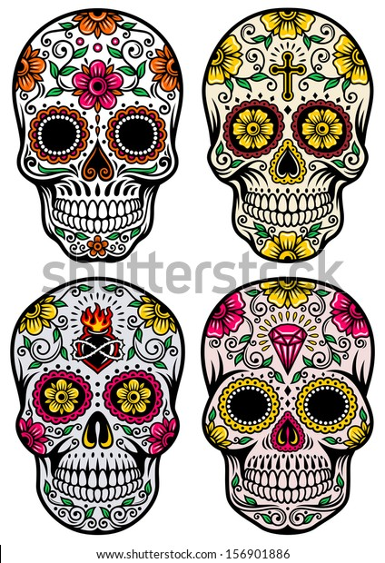 Day Dead Skull Vector Set Stock Vector Royalty Free 156901886