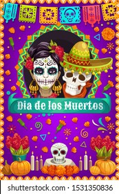 Day of the Dead skulls and death Catrina vector design of Mexican Dia de los Muertos. Sugar skulls and skeletons with marigold flowers, music festival flags and sombrero, altar with candles, pumpkins