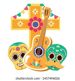 day of the dead skulls masks with guitar and cross vector illustration design