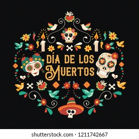 Day of the dead spanish language greeting card illustration. Traditional mexico culture holiday celebration design with sugar skulls and mexican decoration.