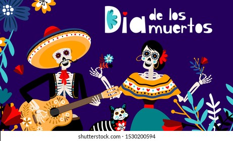 Day of the dead in spanish, traditional mexicans festival color background with skeletons and cat vector illustration. Dia de los muertos backdrop
