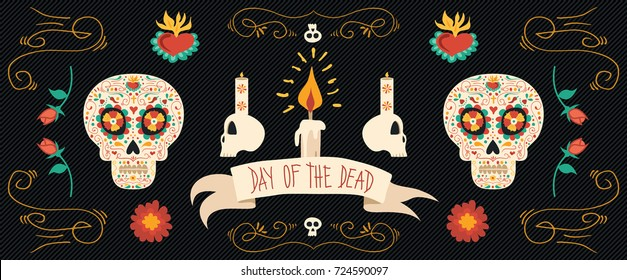 Day of the dead sugar skull banner for mexican celebration, traditional mexico skeleton decoration with flowers and colorful art. EPS10 vector.